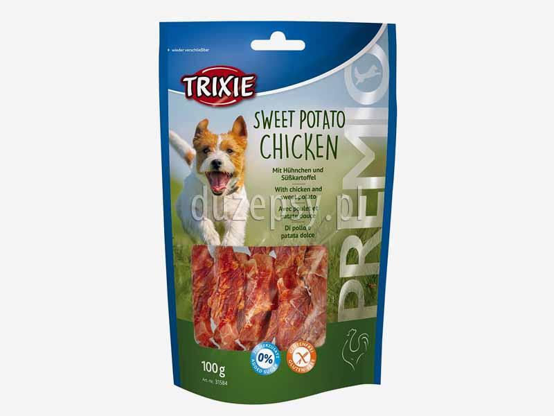 Trixie Premio słodkie ziemniaki z kurczakiem; przysmaki dla psa z suszonym mięsem; smakołyki dla psów; poczęstunki dla psa; słodkie ziemniaki dla psów; przysmaki Trixie dla psa; sklep zoologiczny; DuzePsy.pl