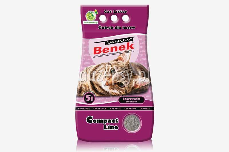 Super Benek Compact Lawenda żwirek dla kotów zapachowy zbrylający. Żwirki dla kotów tanio. Żwirek dla kota zapachowy. Sklep zoologiczny internetowy DuzePsy.pl
