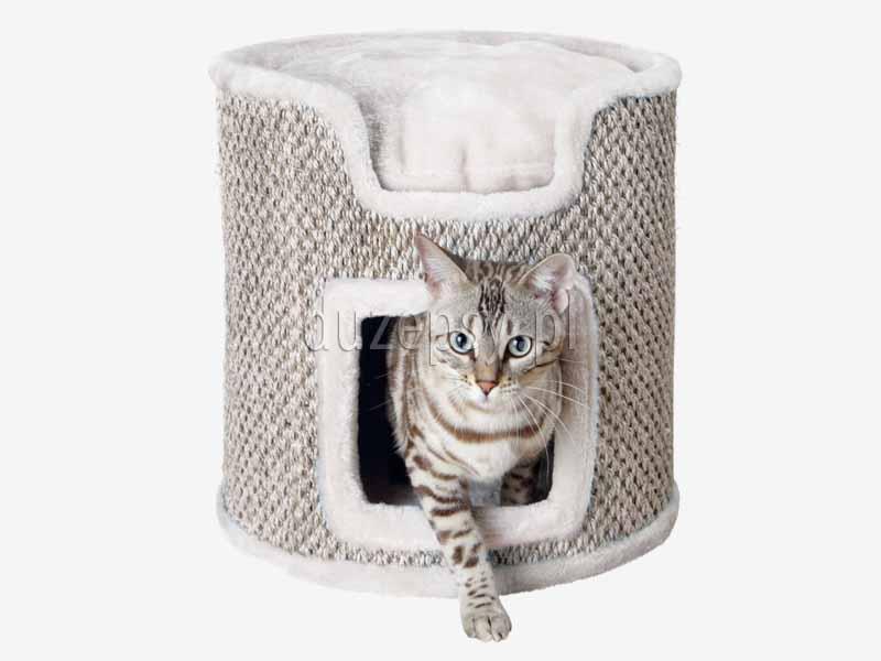 Legowisko dla kota z drapakiem domek. Drapak dla kota z domkiem wieża RIA Trixie. Domek dla kota z drapakiem, drapaki dla kota, domek dla kota, legowisko dla kota z drapakiem, elegancki drapak dla kota, drapak dla kota Trixie, drapaki z sizalu, tanie drapaki dla kotów, tani drapak dla kota, sklep zoologiczny duzepsy.pl, drapaki Trixie, akcesoria dla kotów