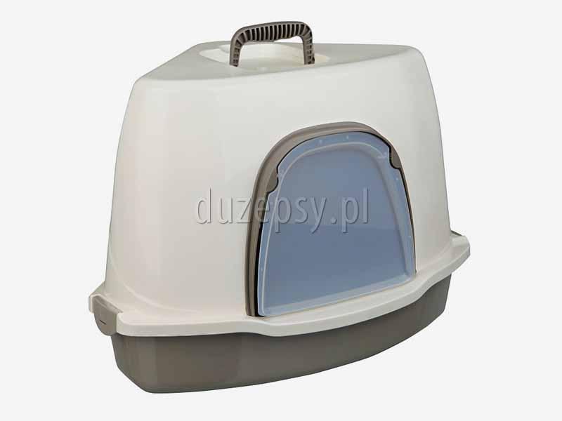 Kuweta narożna dla kota zamykana z filtrem węglowym + łopatka TADEO Trixie. Kuwety zamykane dla kota z filtrem węglowym. Kuweta kryta dla kota. Kuwety zamykane dla kota. Kuwety kryte dla kotów tanio. Kuwety zamykane tanio oferuje sklep zoologiczny DuzePsy.pl