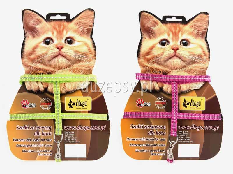 Szelki i smycz dla kota z odblaskiem; szelki i smycz dla kotów odblaskowe; zestaw szelki i smycz dla kota; szelki i smycz dla kota tanio; akcesoria dla kotów; sklep zoologiczny; tanie szelki dla kota; hurtownia zoologiczna; DuzePsy.pl; szelki dla kota z taśmy; smycz dla kota z taśmy