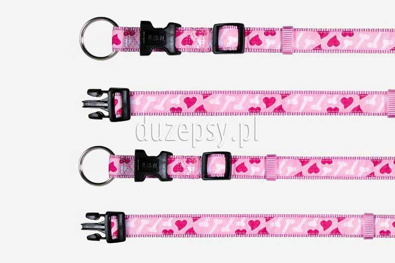 Obroża dla psa z taśmy Trixie MODERN ART różowe serduszka. Kolorowe obroże dla psa. Różowe akcesoria dla psów. Obroża dla psa różowa.