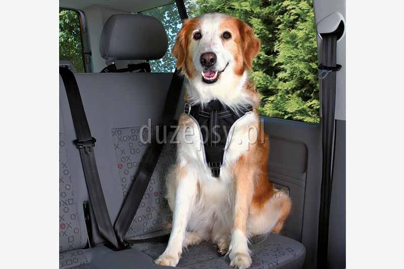 Szelki samochodowe dla psa Trixie. Szelki samochodowe dla dużego psa. Szelki bezpieczeństwa dla psa. Szelki transportowe dla psa. Szelki samochodowe dla psów. Szelki dla psa do samochodu. Szelki do transportu psa. Szelki dla psa trixie. Akcesoria do podróży z psem oferuje sklep zoologiczny DuzePsy.pl. Akcesoria dla psów dużych ras. Szelki dla labradora do samochodu. Sklep zoologiczny Warszawa.