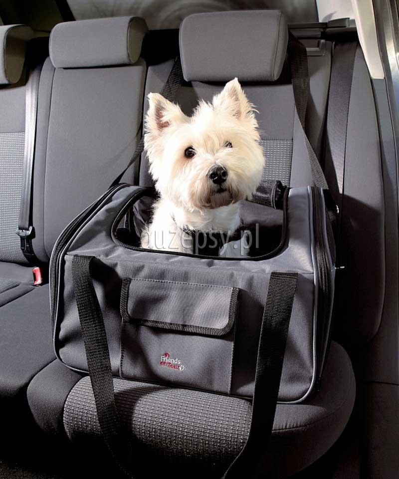 Torba transporter dla małych psów do samochodu - fotelik samochodowy dla psa Trixie 44 × 30 × 38 cm. Fotel samochodowy dla psa. Fotelik do samochodu dla psa. Torba dla małego psa do samochodu. Torba do przewozu psa samochodem. Transporter dla yorka. Torba transportowa dla yorka. Torby transportowe dla małych psów. Torba dla yorka, torba dla yorka do samochodu, akcesoria dla psów, sklep zoologiczny online, internetowy sklep zoologiczny, kacesoria dla małego psa, duzeosy.pl