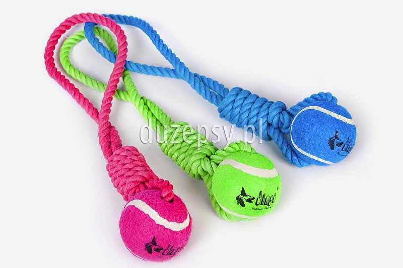 Piłka tenisowa dla psa z uchwytem z linki. Piłka aportowa dla psa. Piłka ze sznurkiem dla psa. Piłki tenisowe dla psa. Zabawki dla psów sklep zoologiczny internetowy duzepsy.pl