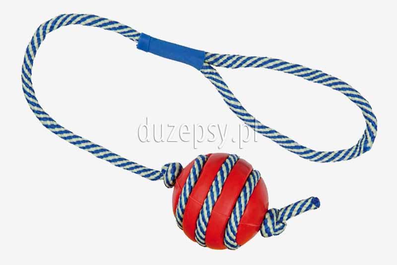 Piłka dla psa z gumy naturalnej z fluorescencyjną linką; piłka aportowa dla psa; Piłka z kolcami dla psa; zabawki dla psów; piłka do szkolenia psa; piłka do nauki aportowania; piłki ze sznurkiem; mocna piłka z kolcami, sklep zoologiczny DuzePsy.pl